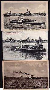 3 Ansichtskarte Stralsund Trajektschiff Putbos Eisenbahnfähre nach Rügen 1924