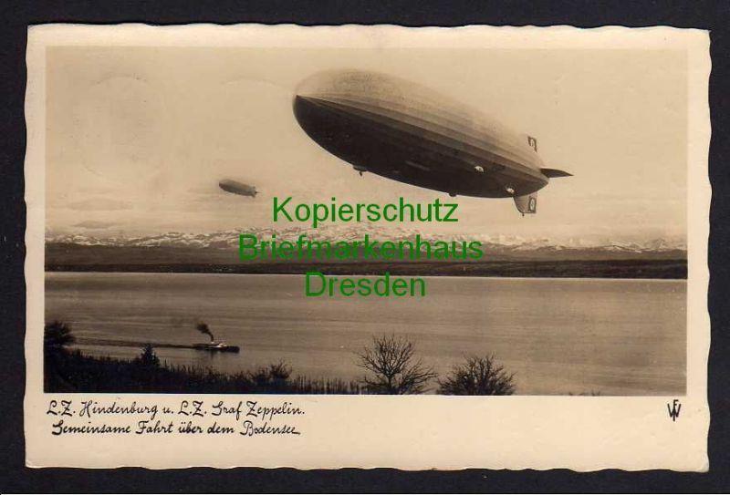 Ansichtskarte L.Z. Hindenburg und Graf Zeppelin Gemeinsame Fahrt über den Bodensee 1