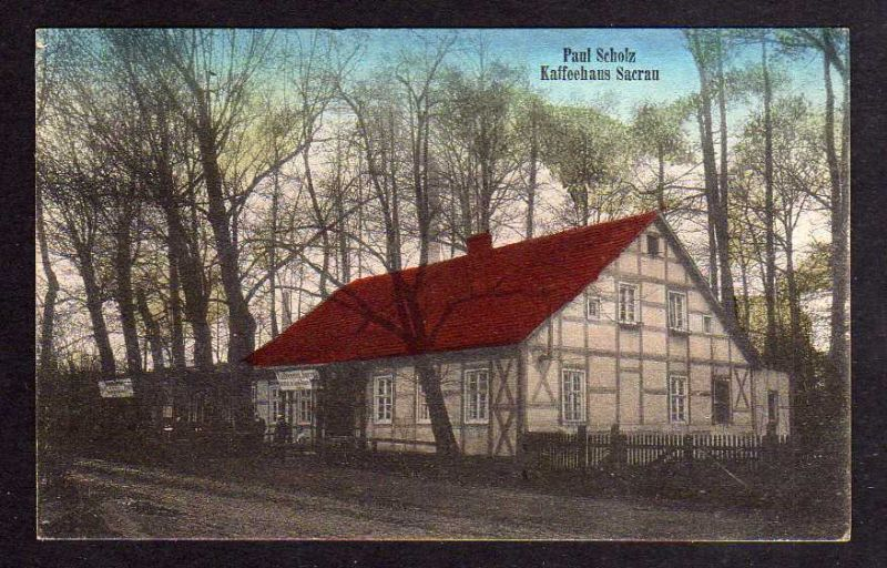 Ansichtskarte Sacrau Schlesien Kr. Oels 1916 Kaffeehaus Paul Scholz