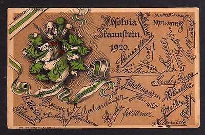 Ansichtskarte Traunstein 1920 Studentika Absolvia Wappen Autogramme gedruckt