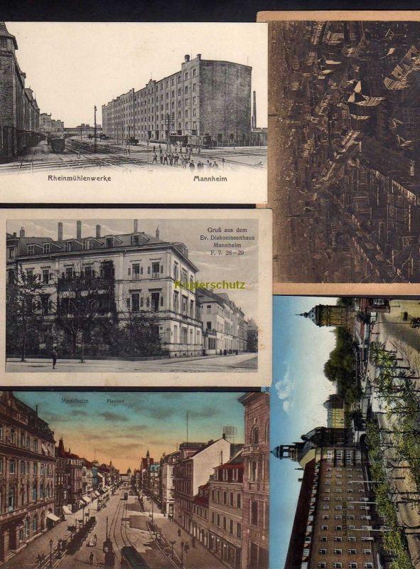 5 Ansichtskarte Mannheim Rheinmühle Rheinmühlenwerke um 1910 Diakonissenhaus Planken