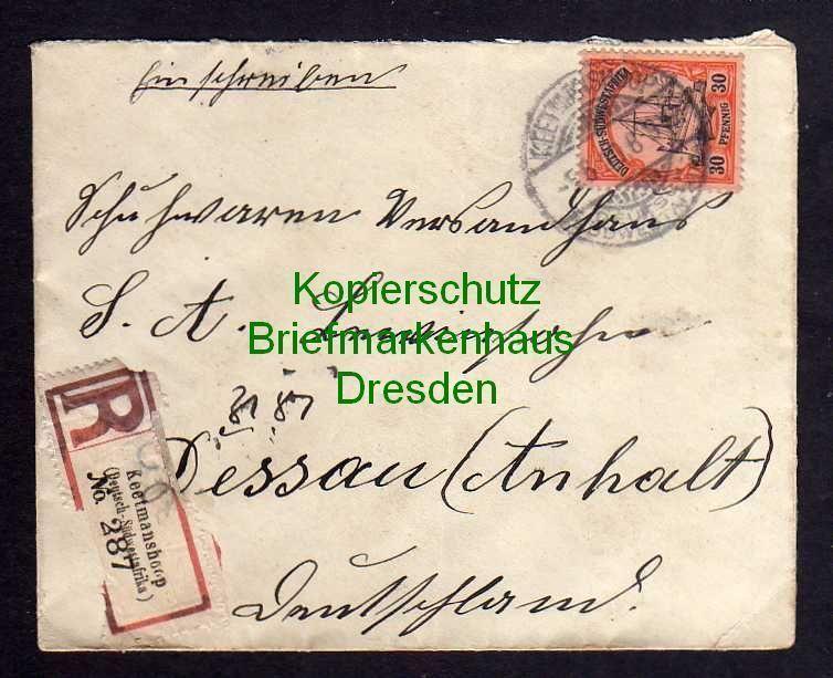 Keetmanshoop 1910 Einschreiben nach Dessau mit Ankunftsstempel