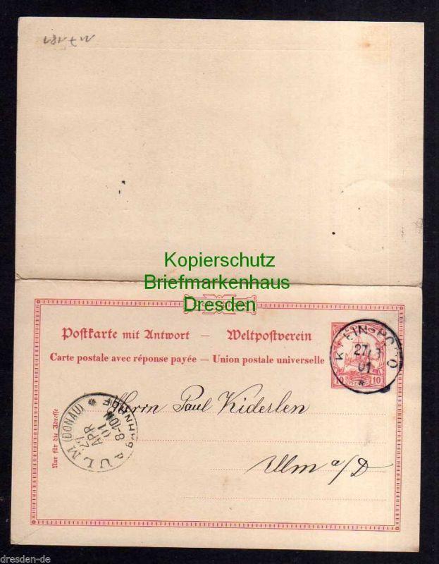 Togo Klein Popo Ganzsache 10/10 Pfennig Schiff 1901 an Kiderlen Ulm