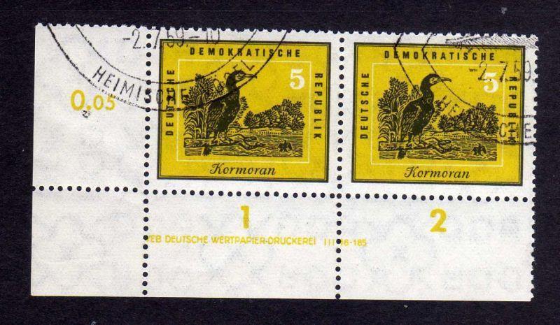 DDR 698 Vögel Kormoran 1959 DV gestempelt SST ungefalten nicht angetrennt Zä