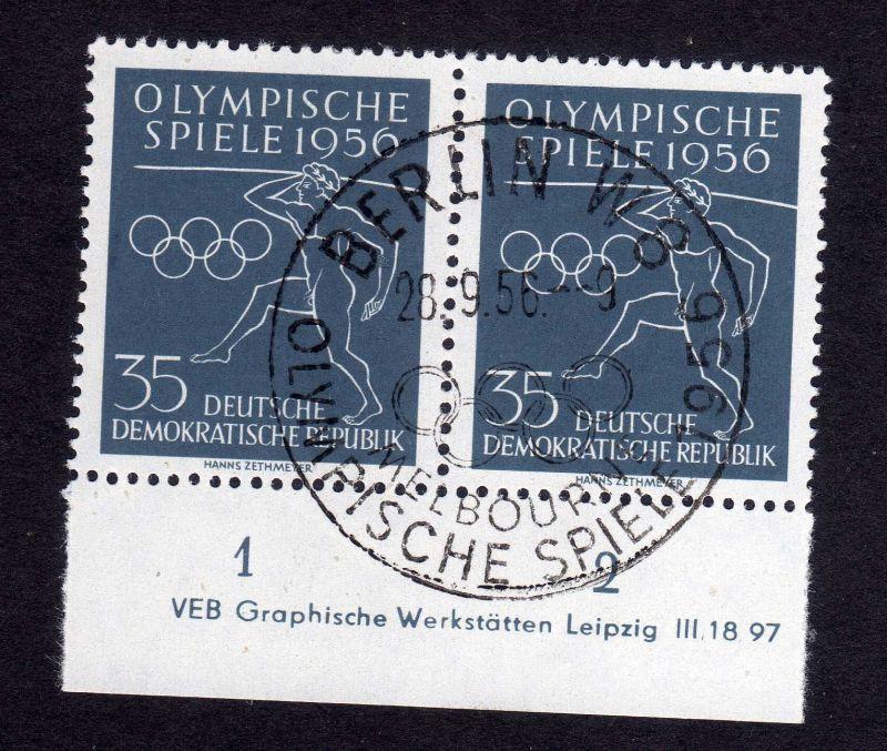 DDR 540 Olympische Spiele 1956 DV gestempelt ungefalten nicht angetrennt Zäh