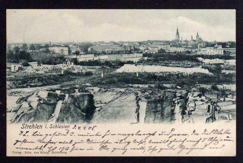 Ansichtskarte Strehlen Schlesien 1908 am Steinbruch