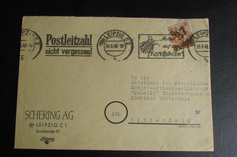 Brief Bezirkshandstempel Bezirk 27 Leipzig 9 30.6.48 Kartoffelkäfer Stempel Sche