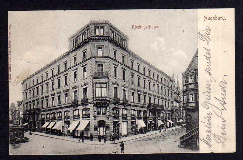 Ansichtskarte Augsburg Riedingerhaus 1905 Wohn- und Geschäftshaus ab 1913 mit Kino