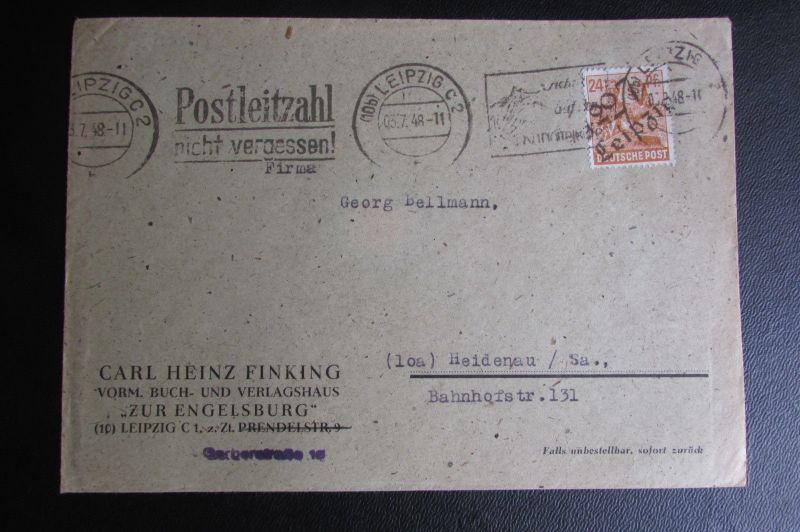 Brief Bezirkshandstempel Bezirk 27 Leipzig 2 03.7.48 Kartoffelkäfer Stempel Fink