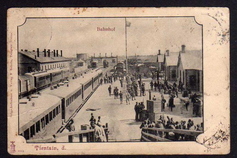 Ansichtskarte Tientsin Bahnhof Gleisseite Züge 5 Länder Frankatur