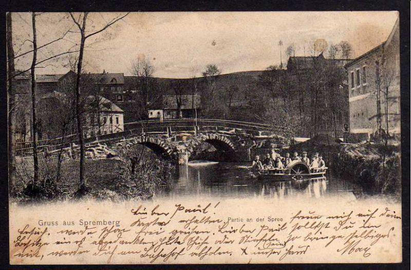 Ansichtskarte Neusalza-Spremberg Spree Boot mit Schaufelrad Brücke 1907