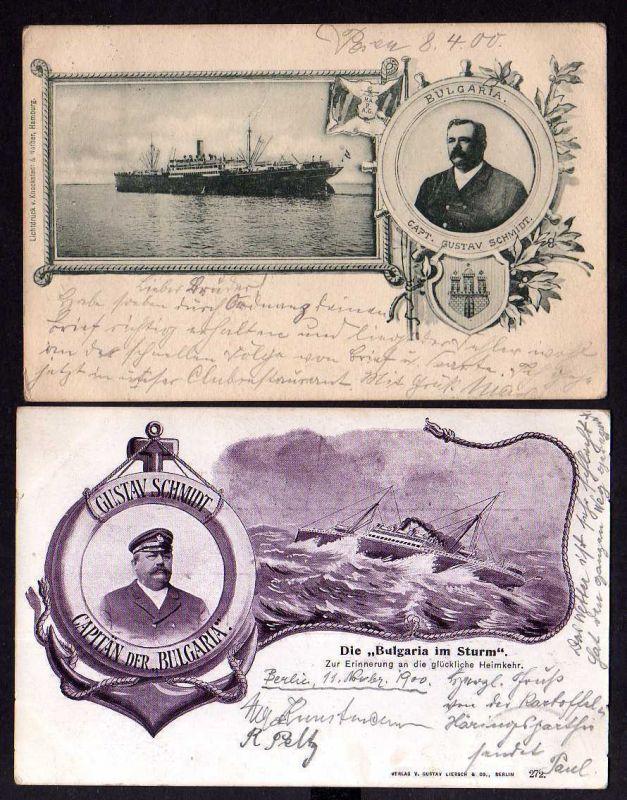 2 Ansichtskarte Dampfer Bulgaria Kapitän Gustav Schmidt 1900 Sturm glückliche Heimkeh