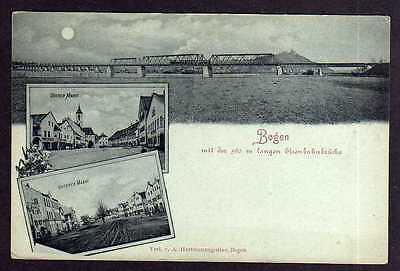 Ansichtskarte Bogen mit der 560 m langen Eisenbahnbrücke Oberer Markt um 1900