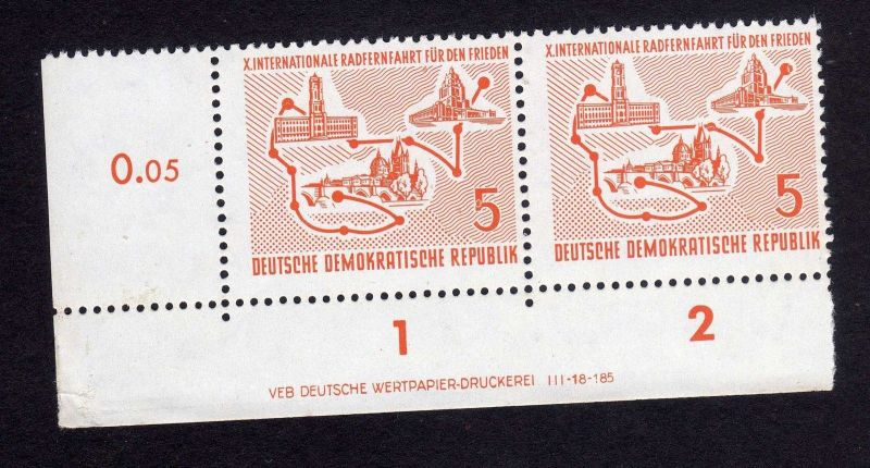 DDR 1957 568 Friedensfahrt R 1-2 ** DV ungefalten nicht angetrennt
