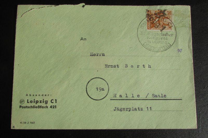 Brief Bezirkshandstempel Bezirk 27 Leipzig 5.7.48 SST Pädagogischer Kongress