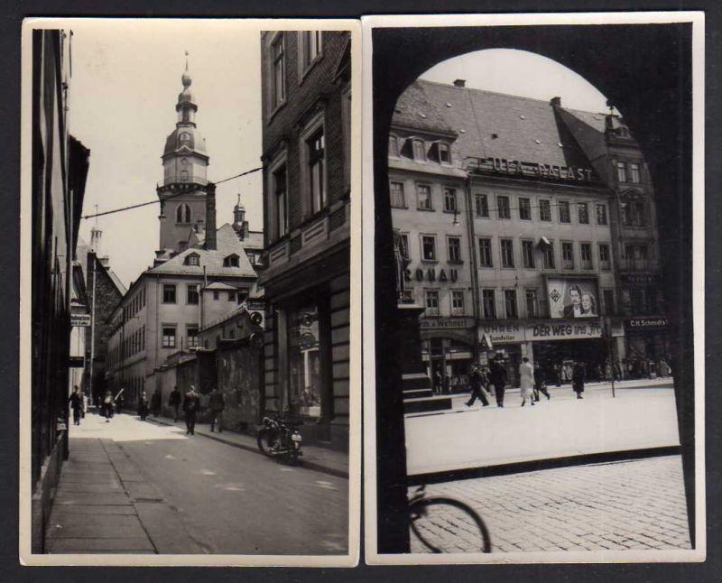 2 Ansichtskarte Chemnitz Fotokarte UFA Palast Kino Uhren Juwelier Schuhmacher Falke