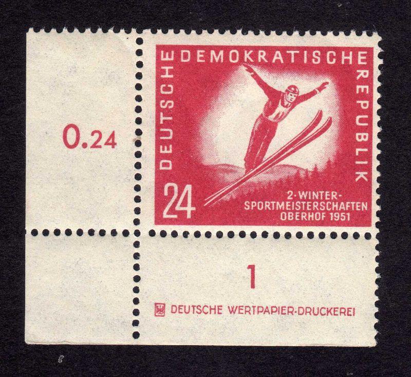DDR 281 Oberhof ** DZ ungefalten, nicht angetrennt Variante Wolf a allseits