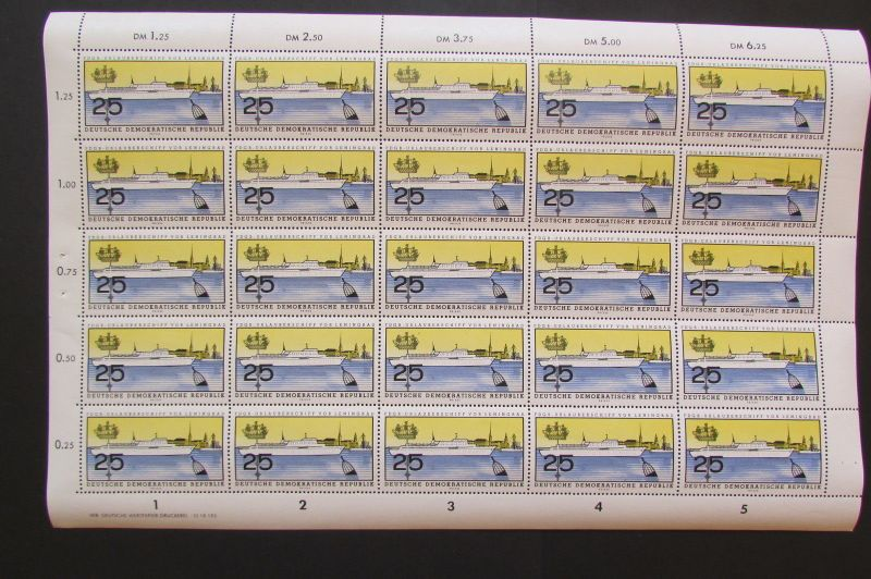 DDR 1960 Bogen 771 FDGB Urlaubeschiff Fritz Heckert postfrisch mit Druckvermerk