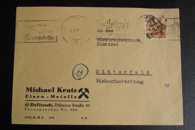 Brief Bezirkshandstempel Bezirk 27 Leipzig 28.6.48 Delitzsch Kartoffelkäfer Stem