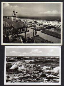 2 Ansichtskarte Swinemünde Kurhaus Konzertplatz Strand 1942 Feldpost