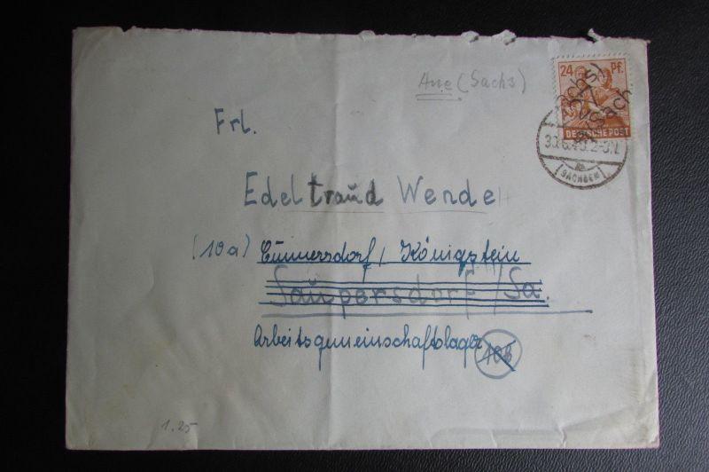 Brief Bezirkshandstempel Bezirk 27 Aue 30.6.48 nach Cunnersdorf / Königstein
