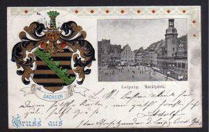 Ansichtskarte Leipzig 1900 Sachsen Wappen Marktplatz Berlin durch Rohrpost
