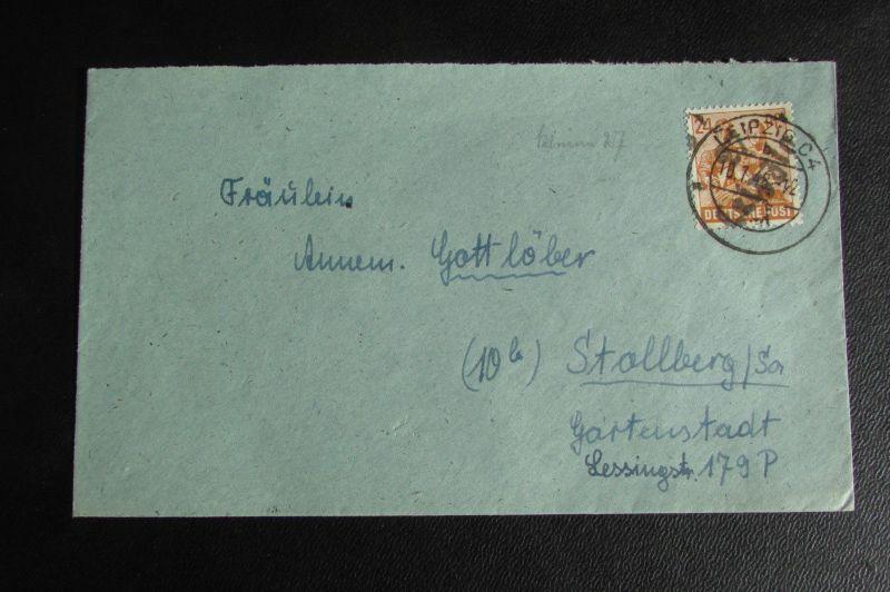 Brief Bezirkshandstempel Bezirk 27 Leipzig C4 10.7.48 nach Stollberg