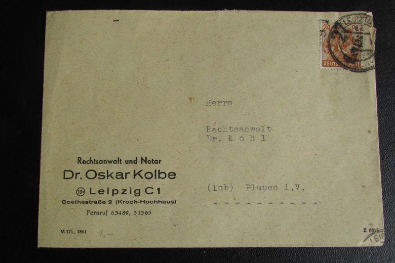 Brief Bezirkshandstempel Bezirk 27 Leipzig 02.7.48 Rechtsanwalt und Notar