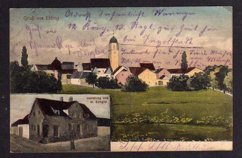 Ansichtskarte Etting Taxe Gaimersheim b. Ingolstadt 1914 Handlung Zirngibl