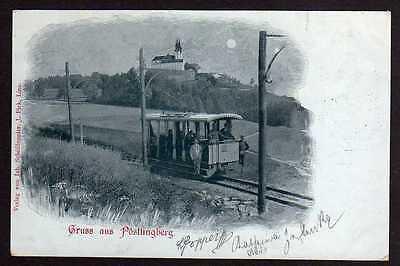 Ansichtskarte Pöstlingberg bei Linz Mondscheinkarte 1898 Schmalspurbahn