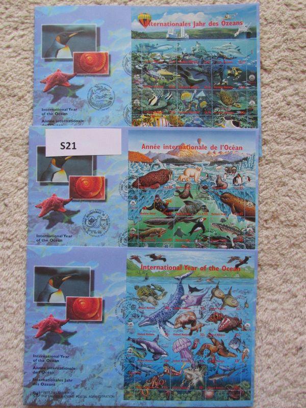 S21 UNO Kleinbogen FDC New York Genf Wien 1998 Internationales Jahr des Ozeans F