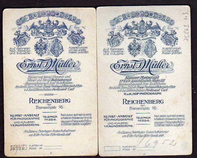 2 Foto auf Hartpappe Reichenberg Kaiserlicher Hofphotograph Ernst Müller