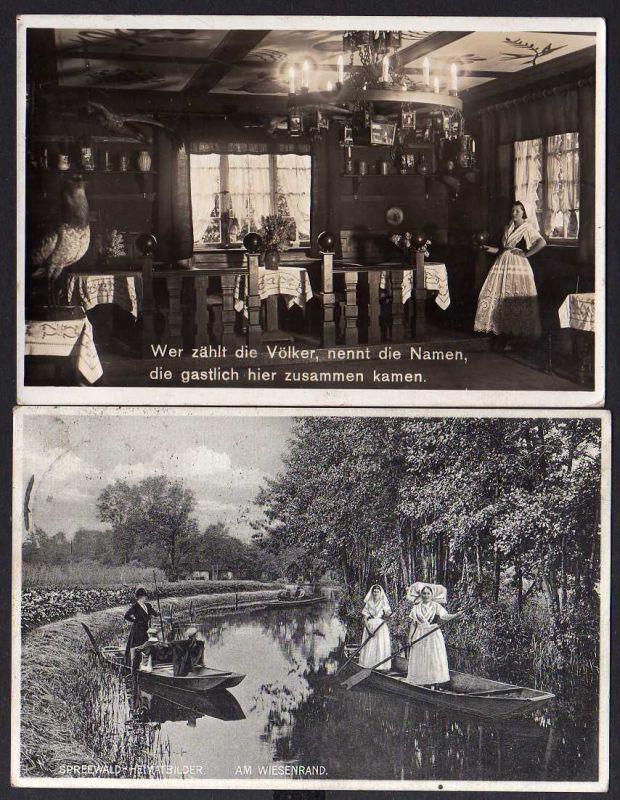 2 Ansichtskarte Lehde Spreewald Cafe Venedig Lübbenau 1937