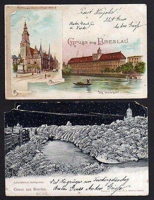 2 Ansichtskarte Breslau Litho 1898 Universität Schweidnitzer Stadtgraben 1900