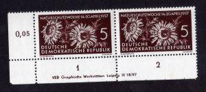 DDR 1957 561 Naturschutzwoche R 1-2 ** DV ungefalten nicht angetrennt
