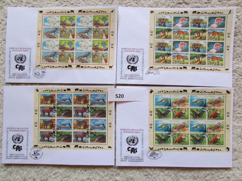 S20 UNO Kleinbogen FDC New York Genf Wien 1995 Tiere Gefährdete Arten