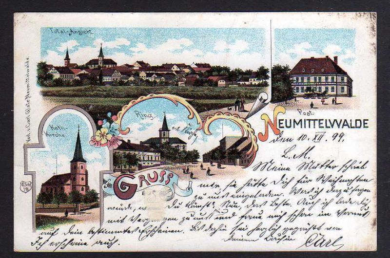 Ansichtskarte Międzybórz Neumittelwalde 1899 Litho Kirche Ring Post Totale