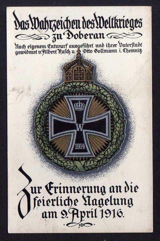 Ansichtskarte Doberan Wahrzeichen des Weltkriegs 1916 Feierliche Nagelung