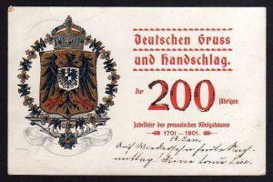 Ansichtskarte 1901 Deutschen Gruss und Handschlag 200 jährigen Jubelfeier des preussi