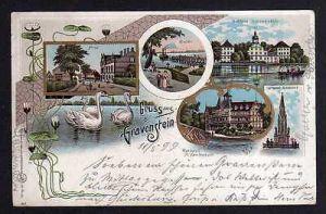 Ansichtskarte Grasten Gravenstein 1899 Litho Post Schloss Brücke Düppel Jugendstil