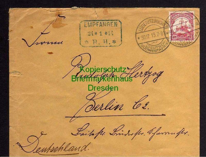 DSW Lüderitzbucht Brief 1913 an Versandhaus Rudolph Hertzog