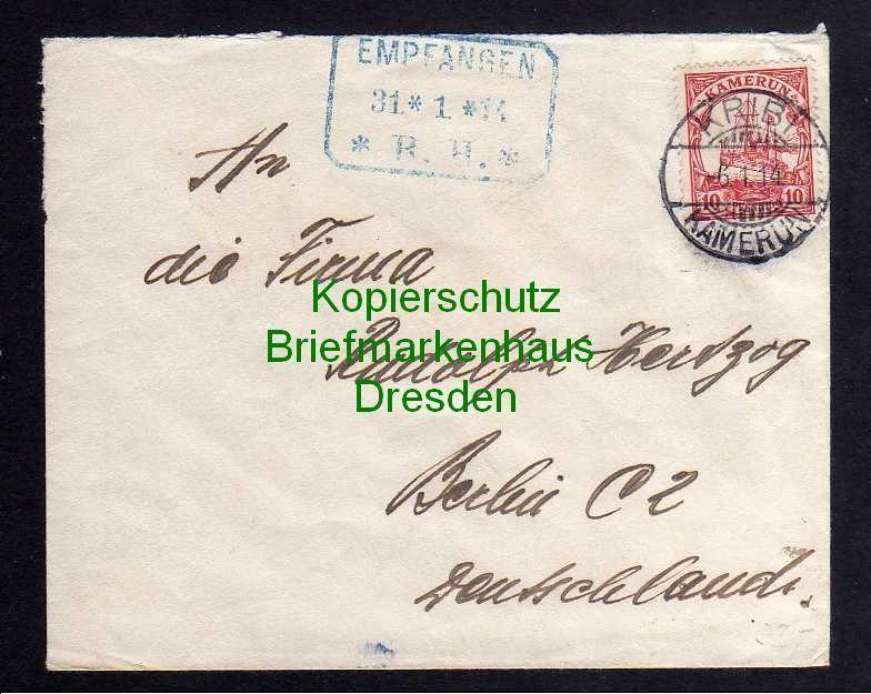 Kribi Kamerun Brief 1914 an Versandhaus Rudolph Hertzog