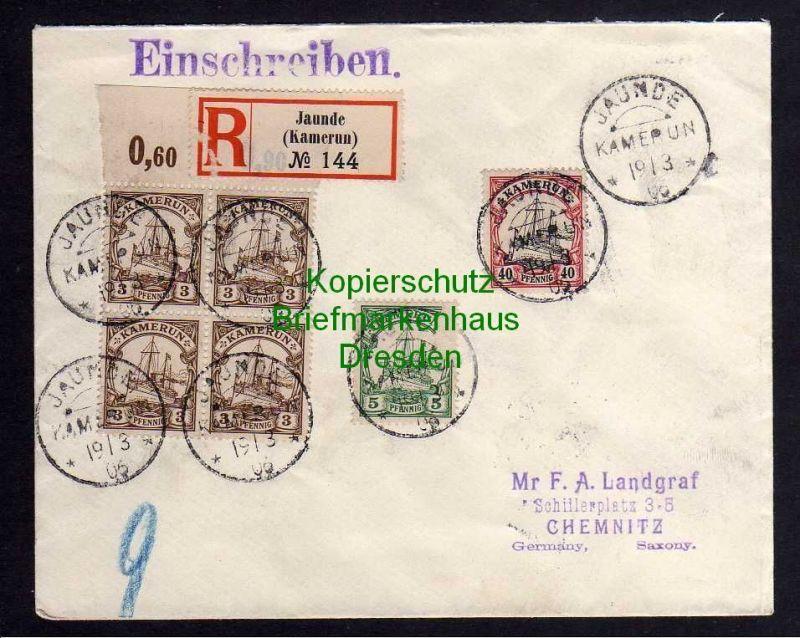 Kamerun Jaunde Brief Einschreiben No 144 1906 nach Chemnitz mit Ankunftss
