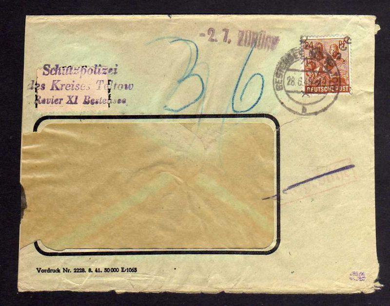 h2263 Handstempel Bezirk 36 Bestensee Schutzpolizei Nachgebühr zurück Inhalt ent