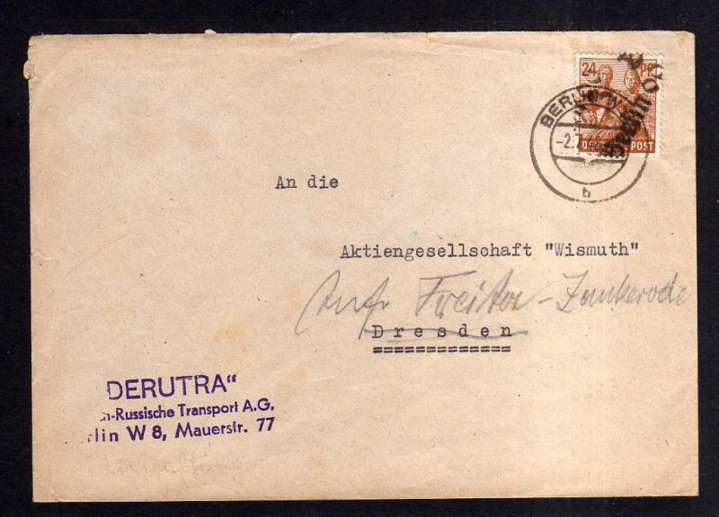 H1916 Handstempel Bezirk 3 Berlin 66 Brief 24 Pfg. 2.7.48 DERUTRA an Wismuth AG