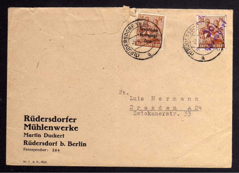 h2277 Handstempel Bezirk 36 Rüdersdorf Brief 2.8.48 - Marke ungültig 24 SBZ Masc
