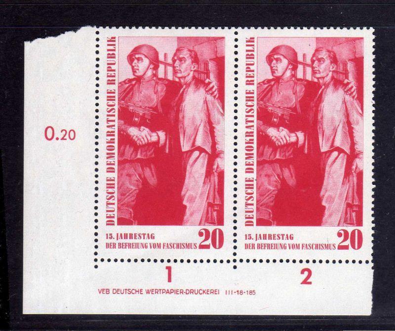 DDR 1960 764 DV Druckvermerk ** Variante e/1 15. Jahrestag der Befreiung vom