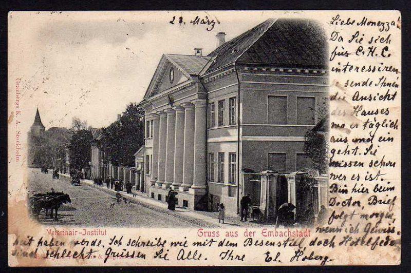 Ansichtskarte Embachstadt Tartu Dorpat Veterinär Institut 02