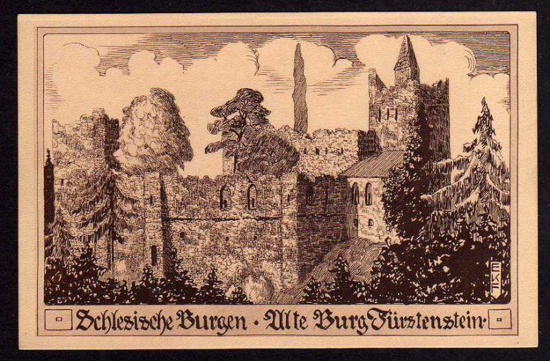 Ansichtskarte Schlesische Burgen Fürstenstein Künstlerkarte