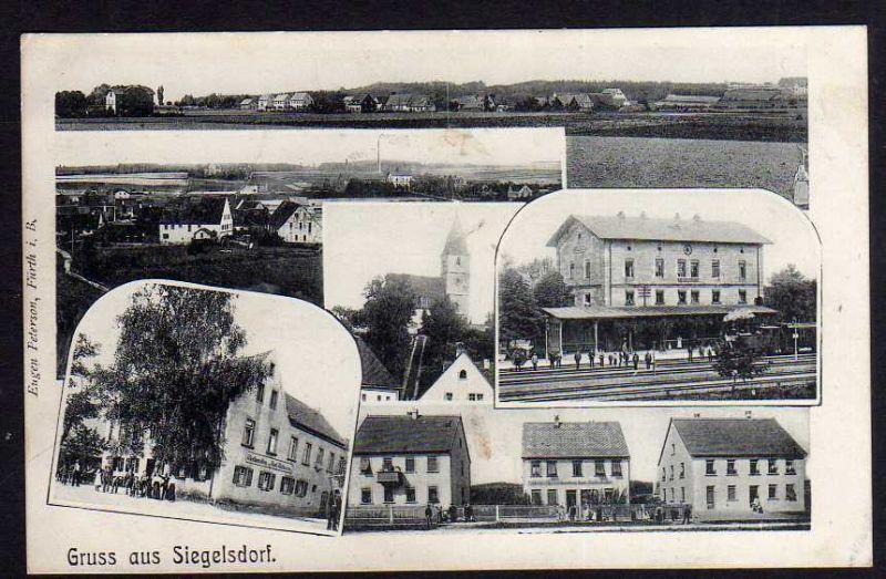 Ansichtskarte Siegelsdorf Bahnhof Gleisseite 1910 Bäckerei Spezereihandlung Gasthaus